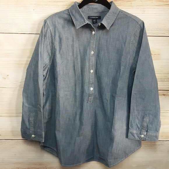 LANDS'END 3/4 Sleeve Chambray Shirt